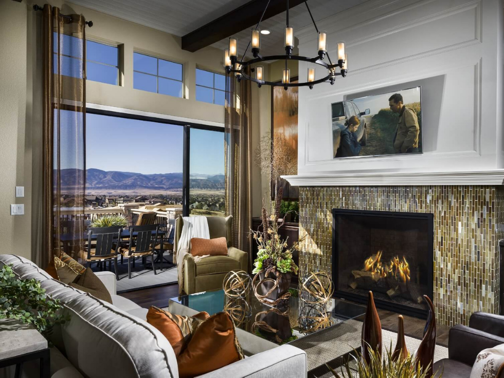 Shea Homes model family room | The Canyons in Castle Pines