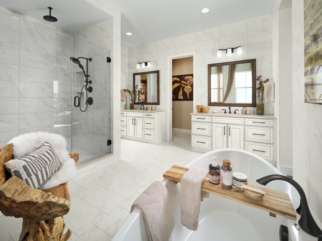 Shea Homes Retreat model master bathroom at The Canyons in Castle Pines, CO