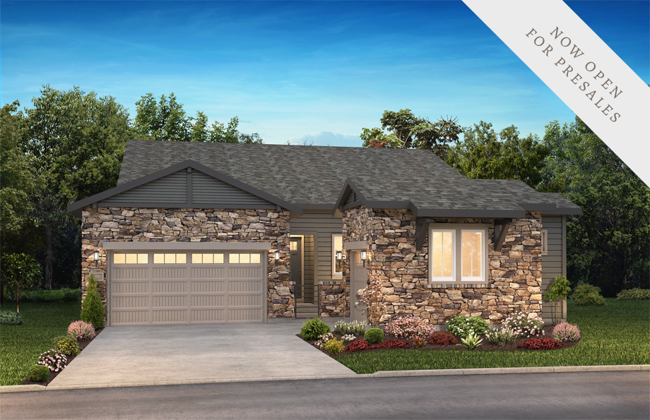 Shea Homes Retreat Collection Homestead Elevation Rendering at The Canyons in Castle Pines