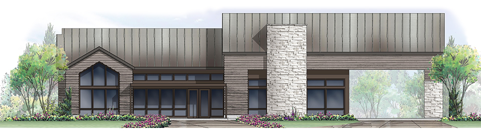 A rendering of The Exchange Coffee House | The Canyons, a new home community in Castle Pines, CO