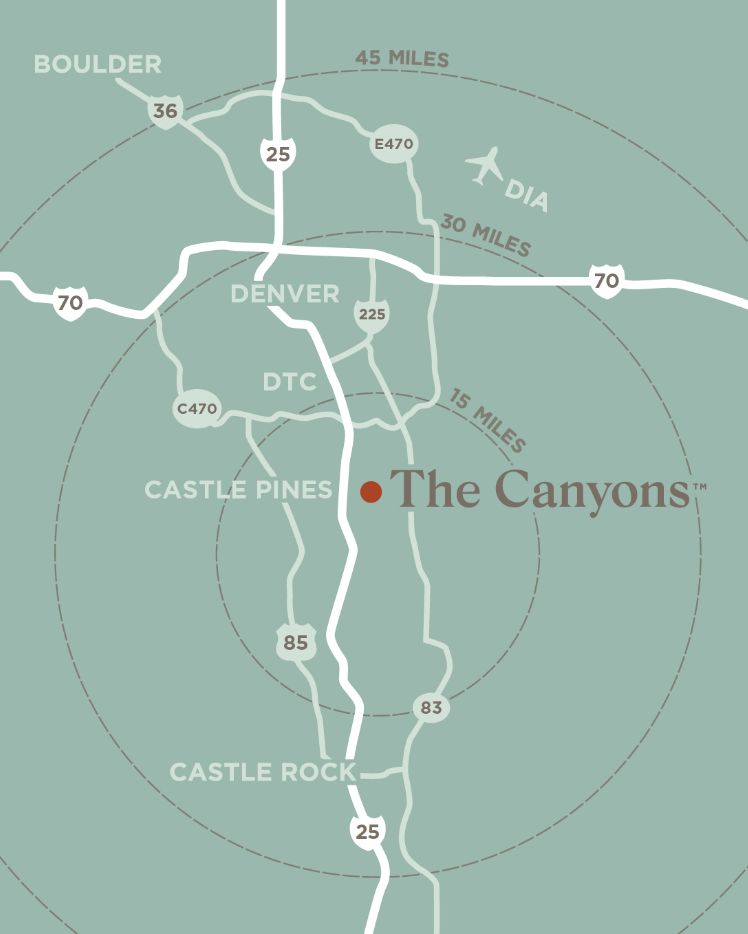 Map of The Canyons location | Close to Denver and the DTC | A new home community in Castle Pines, CO