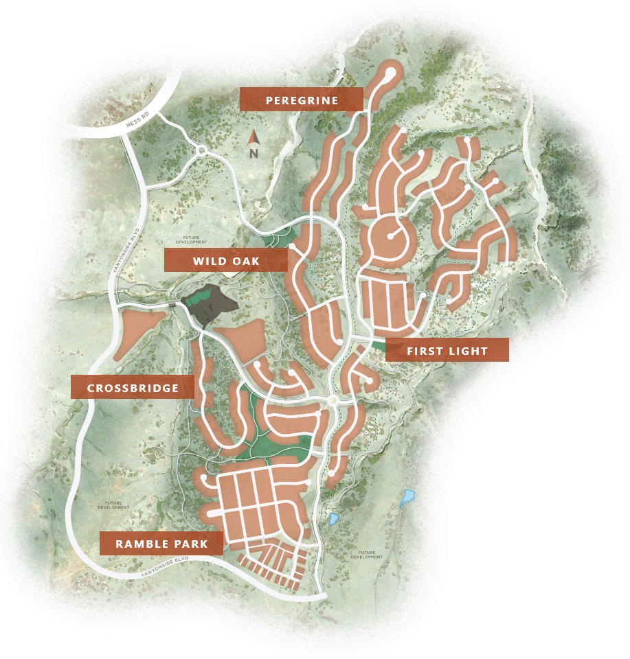 Map of The Canyons featuring proposed neighborhoods | A new home community in Castle Pines, CO